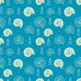 Seamless background with ammonites and sea shells in sketch style stock illustration