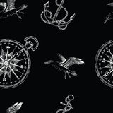 Seamless background with anchor, compass and gull Stock Photos