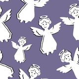 Seamless background with angels Stock Photo