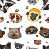 Seamless background with animal heads. Illustration Royalty Free Stock Photo