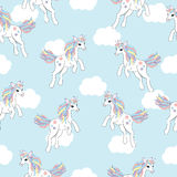 Seamless background of animal illustration with cute unicorn on white cloud background. Suitable for kid wallpaper, scrap paper, and postcard stock illustration