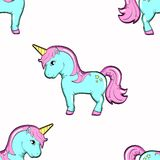 Seamless background, animal object. A horse, a pony or a small unicorn. royalty free illustration