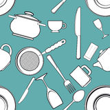 Seamless background with antique kitchen utensils Stock Photo