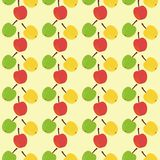 Seamless background with apples. On yellow Royalty Free Stock Image