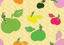 Seamless background with apples. Beautiful seamless background with apples and worms Royalty Free Stock Image