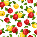 Vector Seamless background with apples and leaves. Vector Seamless background with red and yellow apples and green leaves on white Stock Photo