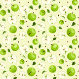 Seamless background with apples and leaves. Stock Photography