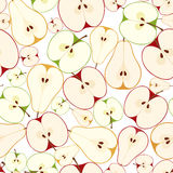 Seamless background with apples and pears. Vector. Stock Images