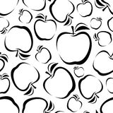 Seamless background with apples silhouettes. Stock Photo