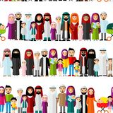 Seamless background of arab families. Stock Image
