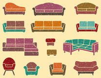 Seamless background with armchairs and sofas Royalty Free Stock Photos