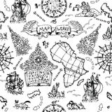 Seamless background with atlas map details, ships and old nautical symbols. Seamless nautical background with world map elements, ancient ships, wind compass and Royalty Free Stock Photography