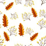 Seamless background with autumn leaves. Illustration Stock Photo