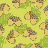 Seamless background with autumn oak leaves and acorns. Acorns and leaves on a beige background stock illustration