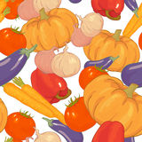 Seamless background with autumn vegetables Stock Images
