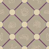 Seamless background with Aztec calendar Day glyphs Royalty Free Stock Images