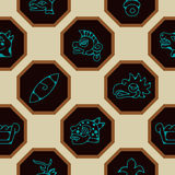 Seamless background with Aztec calendar Day glyphs Stock Photos