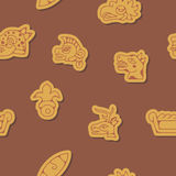 Seamless background with Aztec calendar Day glyphs Stock Photography