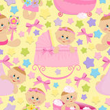 Seamless background with babies Stock Photo