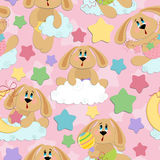 Seamless background for babies with bunny Stock Photography