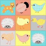 Seamless background with baby animals from fabric Stock Images