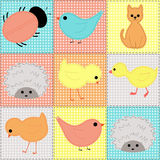 Seamless background with baby animals from fabric Royalty Free Stock Photo