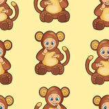 Seamless Background with baby dressed like monkey Stock Image