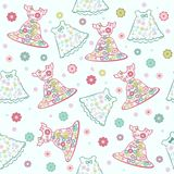Seamless background Baby Girl Dress. Baby seamless patterns set for girl Stock Images