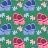 seamless background with baby shoes Stock Images