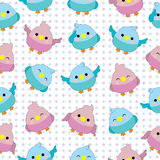 Seamless background of baby shower illustration with cute baby birds on pink and blue polka dot background. Suitable for baby wallpaper, scrap paper, nursery Royalty Free Stock Images