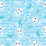 Seamless background of baby shower illustration with cute baby boy panda and baby clothes on stripes background. Suitable for baby wallpaper, scrap paper and stock illustration