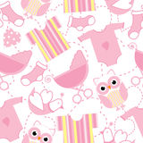 Seamless background of baby shower illustration with cute pink baby clothes, sock, and owl royalty free illustration