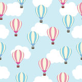 Seamless background of baby shower illustration with cute pink and blue hot air balloon Royalty Free Stock Photos