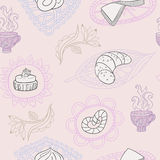 Seamless background with baking, cup and flower. Royalty Free Stock Images