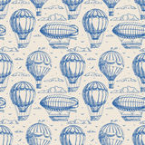 Seamless background with balloons and airships Royalty Free Stock Images