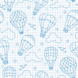 Seamless illustration with balloons , clouds, birds and stars ,blue contour icons on the clean writing-book sheet in a cage