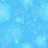 Seamless illustration with balloons , clouds, birds and stars on a blue background with flares Stock Images