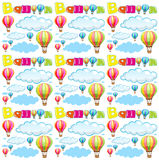Seamless background with balloons and clouds in sky Stock Photography