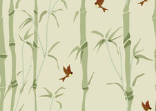 Seamless background with bamboo and birds Stock Image