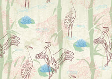 Seamless background with bamboo, stork and lily Stock Images