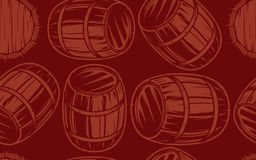 Seamless background with barrels for drinks on brown background Stock Photo