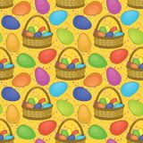 Seamless, basket with Easter eggs Stock Photography