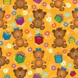 Seamless background, bears and gifts Royalty Free Stock Photos