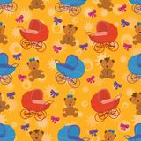 Seamless background, bears and prams Stock Photo