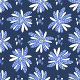 Seamless  background. Beautiful abstract flowers in blue and white colors.  Royalty Free Stock Image