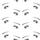 Seamless background with beautiful eyes, endless eye pattern Stock Photos