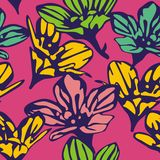 Seamless background with beautiful flowers. Floral pattern. Vector illustration royalty free illustration