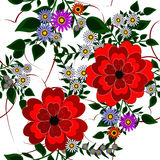 Seamless background with beautiful red flowers Royalty Free Stock Photography