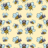 Seamless background with bee flying Royalty Free Stock Images