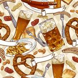 Seamless background with beer glasses, pretzel. And sausages and fried potatoes Oktoberfest Celebration design Royalty Free Stock Image